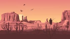 Horizontale beeldverhaalillustratie van het prairie wilde westen. Stock Foto
