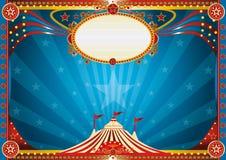 Horizontale Blauwe circusachtergrond Royalty-vrije Stock Afbeeldingen