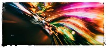 Horizontale brede levendige trillende de abstractieprentbriefkaar van de snelheidsweg Royalty-vrije Stock Foto's