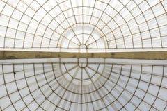 Horizontale die structuur van de serre de symmetrische koepel wordt gezien van onderaan Royalty-vrije Stock Foto's