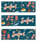 Horizontale Fahne der Meeresfrüchte, flache Art Meeresfrüchteschablone für Ihr Design Unterwasserwelt, Leben Auch im corel abgeho stock abbildung