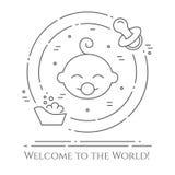 Horizontale Fahne des Babythemas Piktogramme des Babys, der Badewanne und des Friedensstifters in einem Kreis Neugeborene in Verb Lizenzfreies Stockbild