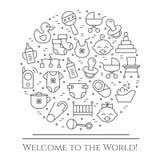 Horizontale Fahne des Babythemas Piktogramme des Babys, des Pram, der Krippe, des Mobiles, der Spielwaren, des Geklappers, der Fl Stockfotografie
