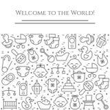 Horizontale Fahne des Babythemas Piktogramme des Babys, des Pram, der Krippe, des Mobiles, der Spielwaren, des Geklappers, der Fl Lizenzfreies Stockfoto