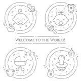 Horizontale Fahne des Babythemas Piktogramme des Babys, des Pram, der Krippe, des Mobiles, der Spielwaren, des Geklappers, der Fl Stockbild