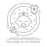 Horizontale Fahne des Babythemas Piktogramme des Babys, des Stoffes und des Geklappers in einem Kreis Neugeborene in Verbindung s Stockfotografie