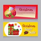 Horizontale Fahne des bunten Weihnachtsverkaufs mit Balldekoration stock abbildung