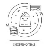 Horizontale Fahne des Einkaufsthemas Piktogramme der Tasche, Kreditkarte, Bargeld In Verbindung stehende Elemente der Käufe in ei Stockfoto