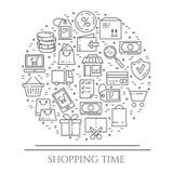 Horizontale Fahne des Einkaufsthemas Piktogramme der Tasche, der Kreditkarte, des Shops, der Lieferung, des Bargeldes, der Geldbö Stockfotografie