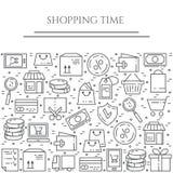 Horizontale Fahne des Einkaufsthemas Piktogramme der Tasche, der Kreditkarte, des Shops, der Lieferung, des Bargeldes, der Geldbö Lizenzfreie Stockfotografie