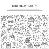 Horizontale Fahne des Geburtstagsfeierthemas Satz Elemente des Kuchens, des Geschenkes, des Champagners, der Disco, des Feuerwerk Stockfotografie
