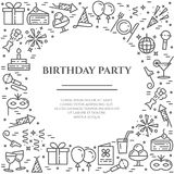 Horizontale Fahne des Geburtstagsfeierthemas Satz Elemente des Kuchens, des Geschenkes, des Champagners, der Disco, des Feuerwerk Stockbild