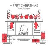 Horizontale Fahne des Weihnachtsneuen Jahres mit Kamin, Geschenke Linie Kunst Lizenzfreies Stockbild
