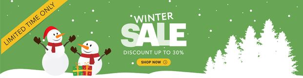 Horizontale Fahne des Winterschlussverkaufgrüns lizenzfreie stockbilder