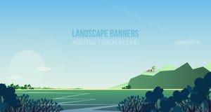 Horizontale Fahne mit herrlicher Flussuferlandschaft oder -landschaft Malerische Ansicht mit Fluss, Büschen oder Sträuchen, Haus  Stockbild