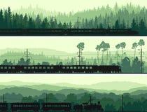 Horizontale Fahnen der Lokomotive, des Zugs und der Hügel, die Koniferen sind, flehen an stock abbildung