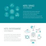 Horizontale Fahnen des Hotelservices und -unterhaltung Ikonen im flachen Design mit Probe simsen Vektor Stockfotografie
