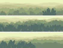 Horizontale Fahnen des laubwechselnden Holzes der Hügel. Stockfoto