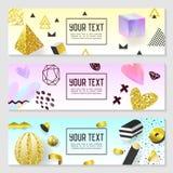 Horizontale Fahnen eingestellt mit Goldfunkeln-geometrischen Elementen Plakat-Einladungs-Beleg-Schablonen Abstraktes Karten-Desig Stockfotografie