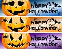 Horizontale Fahnen Sammlungs-glückliche Halloweens Stockfotos