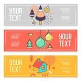 Horizontale Fahnen stellten Memphis Style mit geometrischen Elementen ein Plakat-Einladungs-Beleg-Schablonen Abstraktes Karten-De Stockbilder