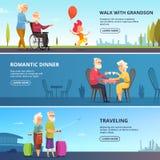 Horizontale Fahnen stellten mit Illustrationen von älteren Paaren in den verschiedenen Situationen ein stock abbildung