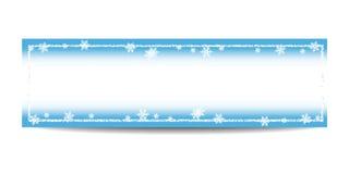 Horizontale Fahnenschablone des Winters mit silbernem Rahmen und Schneeflocken stock abbildung