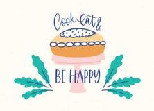 Horizontale Fahnenschablone mit köstlichem Kuchen oder Torte auf Stand und Koch, essen und sind die glückliche Phrase, die mit ha stock abbildung
