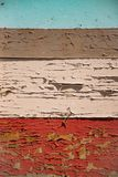 Horizontale geschilderde houten raad Oude gekleurde verf` s schil royalty-vrije stock foto