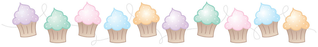 Horizontale Grens Cupcake Stock Afbeelding