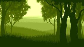 Horizontale illustratie binnen bos. Royalty-vrije Stock Afbeelding
