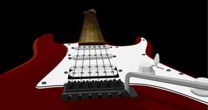 Horizontale illustratie met rode elektrische gitaar. Royalty-vrije Stock Foto's