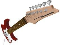 Horizontale illustratie met rode elektrische gitaar. Stock Afbeeldingen
