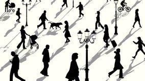 Horizontale illustratie van de silhouetten van menigtemensen met schaduwen Stock Foto's