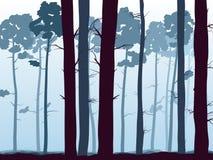 Horizontale illustratie van dennenbosbos. Royalty-vrije Stock Fotografie
