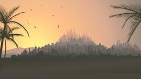 Horizontale illustratie van grote Arabische stad bij zonsondergang. royalty-vrije illustratie