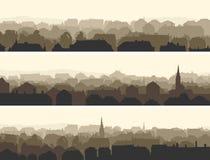 Horizontale illustratie van grote Europese stad. Stock Afbeeldingen