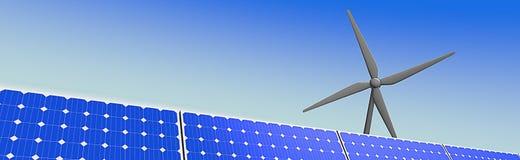 Horizontale illustratie van zonnepanelen en een windmolen Royalty-vrije Stock Afbeeldingen