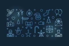 Horizontale Illustration des blauen Vektors des guten Rutsch ins Neue Jahr-Entwurfs vektor abbildung