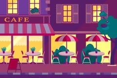 Horizontale Illustration des modernen flachen Vektors Café im Freien in Stockfotos