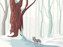 Horizontale Illustration des schneebedeckten Waldes der Karikatur mit Wolf Stockbild