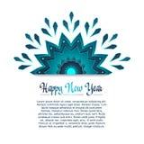 Horizontale Kartenschablone mit einer blauen Schneeflocke Lizenzfreie Stockbilder