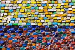 Horizontale kleurrijke mozaïektextuur op muur Stock Fotografie