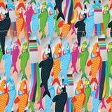 Horizontale Koinobori hangt naadloos patroon Royalty-vrije Stock Afbeeldingen