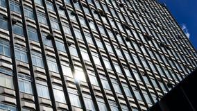 Horizontale levendige bedrijfswolkenkrabberachtergrond Stock Foto's