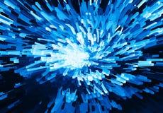 Horizontale levendige blauwe de explosiedraai van het kubuspixel Stock Foto