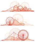 Horizontale lijnen van achtbaan en Ferris Wheel Stock Afbeeldingen