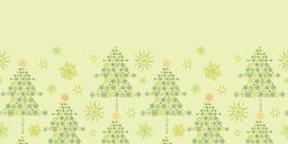 Horizontale Naadloos van sneeuwvlokkerstbomen Stock Afbeeldingen