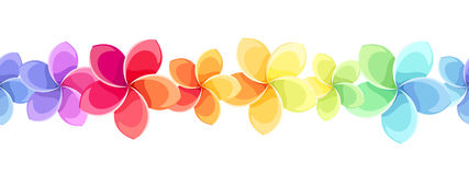 Horizontale naadloze achtergrond met kleurrijke bloemen Vector illustratie Stock Afbeeldingen