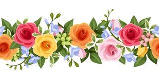 Horizontale naadloze achtergrond met kleurrijke rozen en fresiabloemen Vector illustratie Stock Afbeeldingen